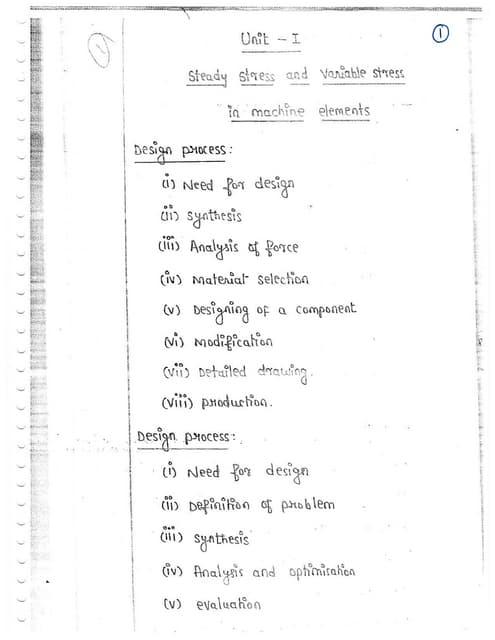ME6503 - DESIGN OF MACHINE ELEMENTS UNIT - I  NOTES
