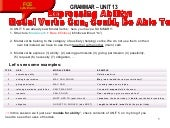 Unit 13 Grammar Contents: Modals expressing ability, verbs with prepositions followed by the gerund and Make vs Do