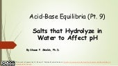 Chem 2 - Acid-Base Equilibria IX: Salts that Hydrolyze in Water to Affect pH