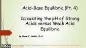 Chem 2 - Acid-Base Equilibria IV: Calculating the pH of Strong Acids versus Weak Acid Equilibria