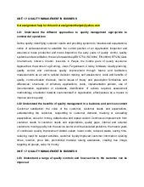 Quality management essay
