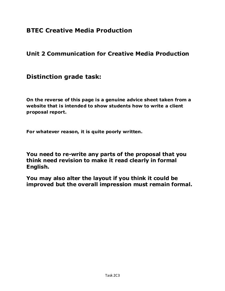 Unit  D Distinction Level Sample Client Advertising Proposal