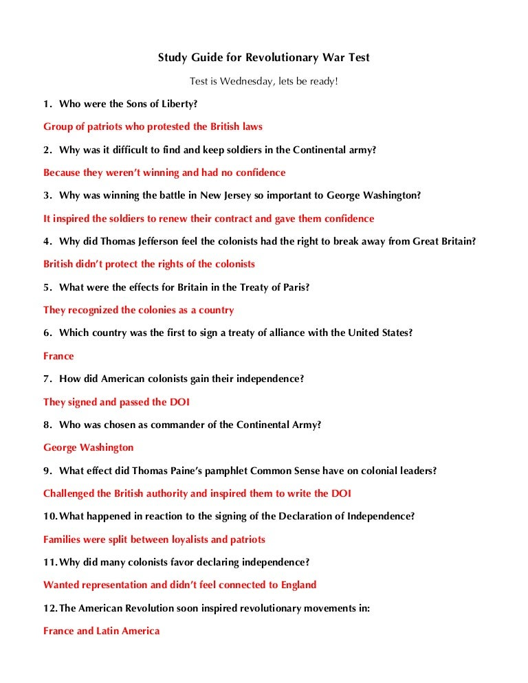 Unit 2 part 2 review guide w/answers