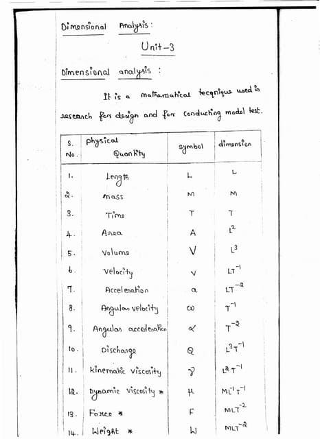 CE6451 - FLUID MECHANICS AND MACHINERY UNIT - III NOTES
