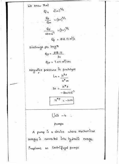 CE6451 - FLUID MECHANICS AND MACHINERY UNIT - IV NOTES