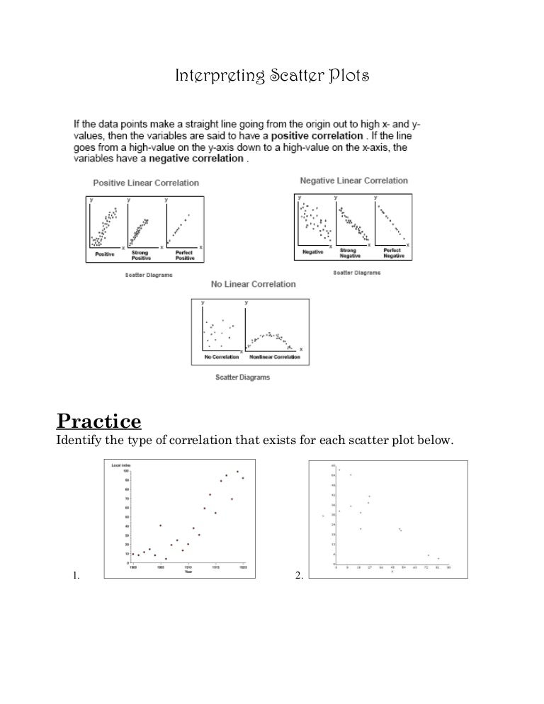 Scatter Plot Worksheet Notes: Unit 4 notes 1   scatter plots notes & practice,