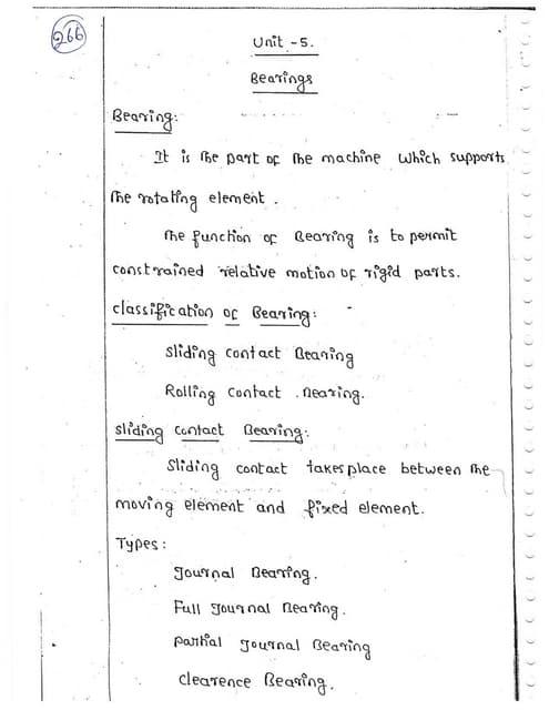 ME6503 - DESIGN OF MACHINE ELEMENTS UNIT - V NOTES