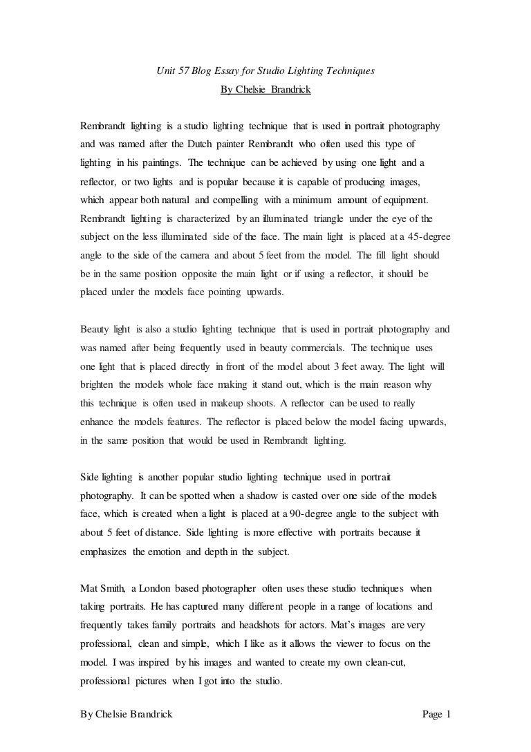 sc 1 st  SlideShare & Unit 57 Blog Essay For Studio Lighting Techniques azcodes.com