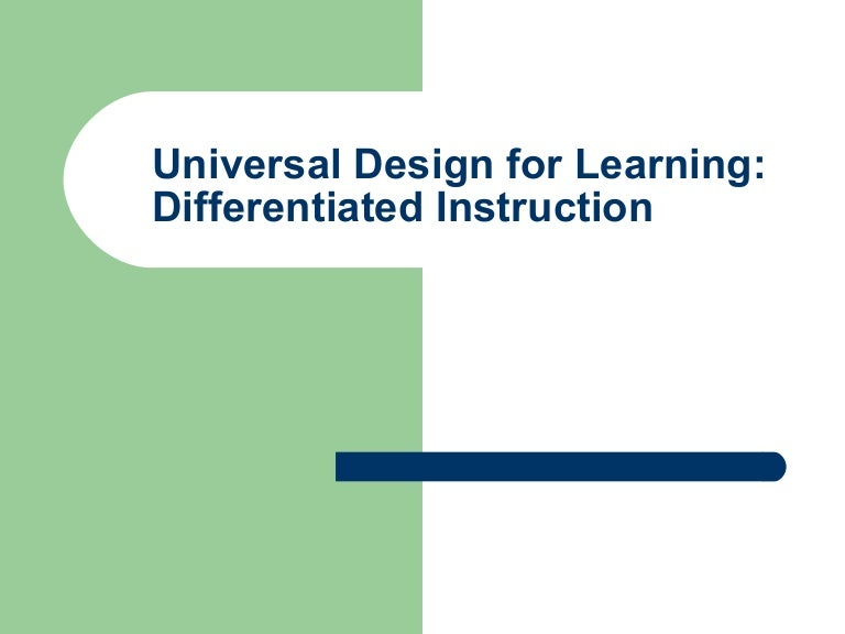 Universal Design For Learning Differentiated Instruction