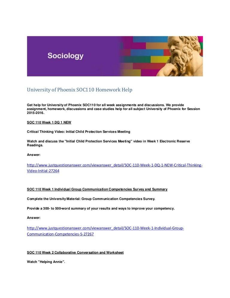 University of phoenix homework help