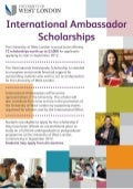 University of West London - International Ambassador Scholarship - September 2012