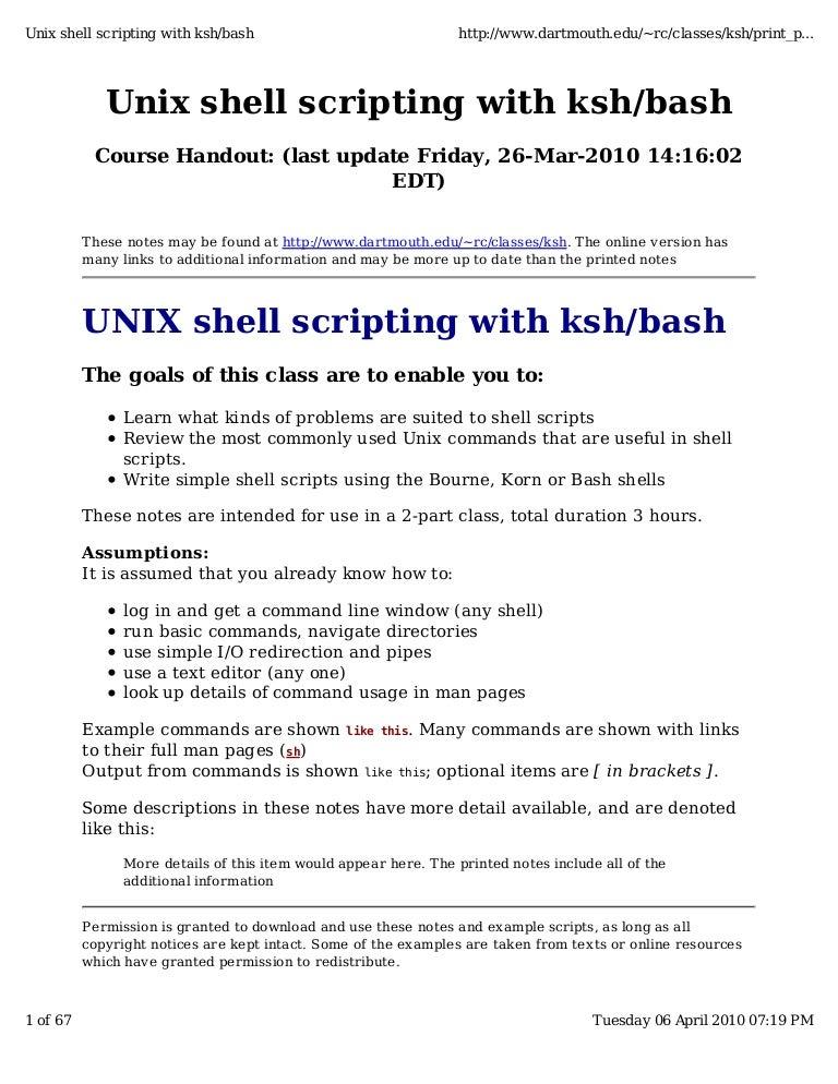 how to write a unix shell