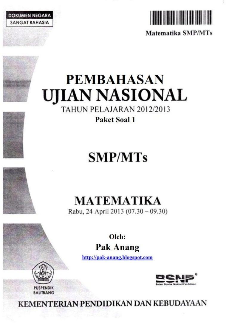 first image of Try Out Ujian Nasional Smp Sederajat with Un mat. smp 2013 paket 1