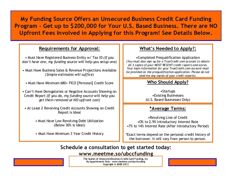 Unsecured business credit card funding program reheart Choice Image