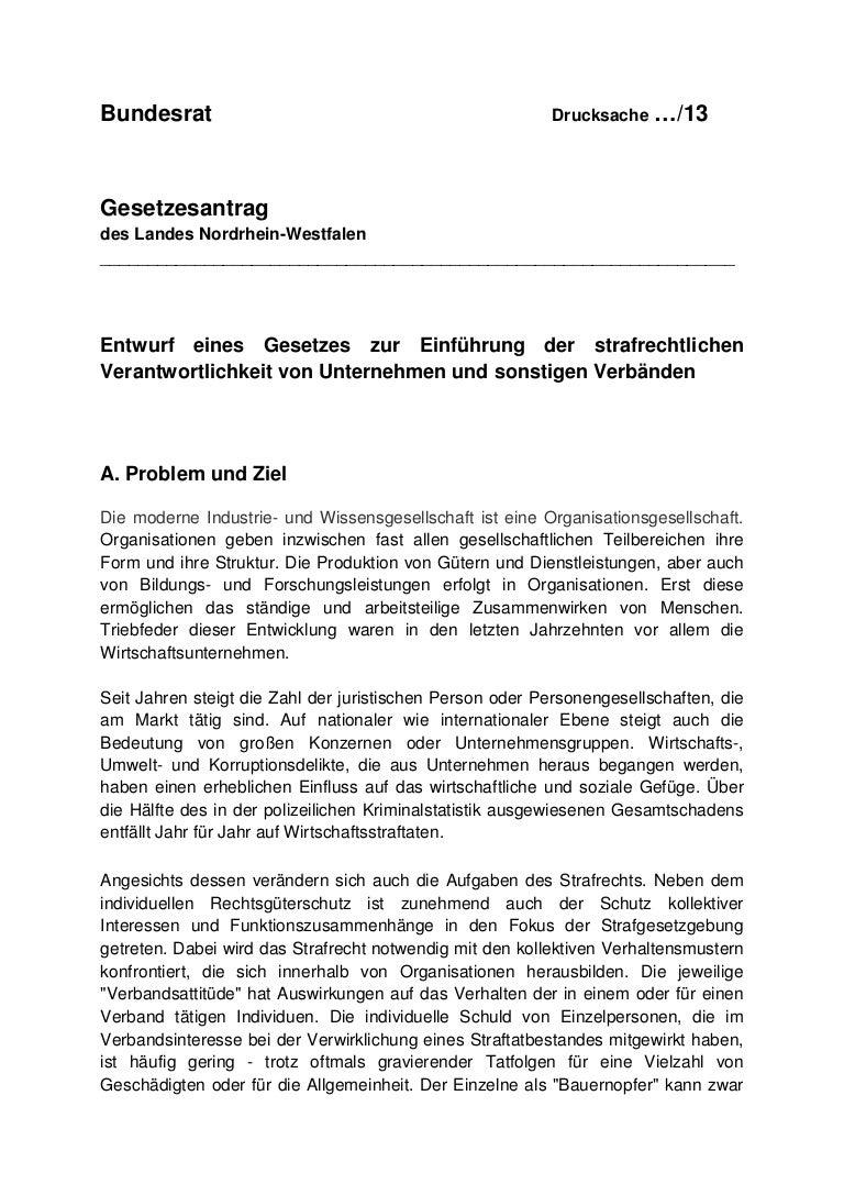 Unternehmensstrafrecht in Deutschland NRW Gesetzesinitiative