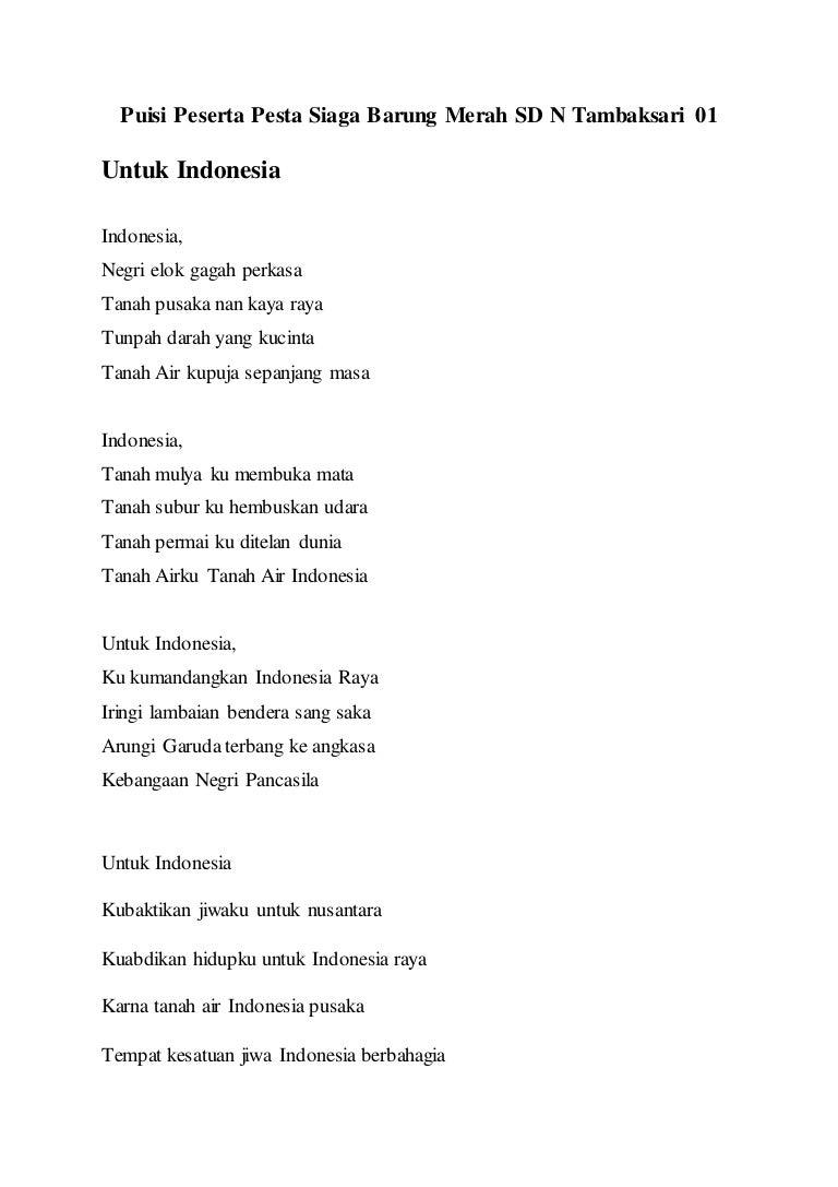 Puisi Anak Sd Untuk Indonesia