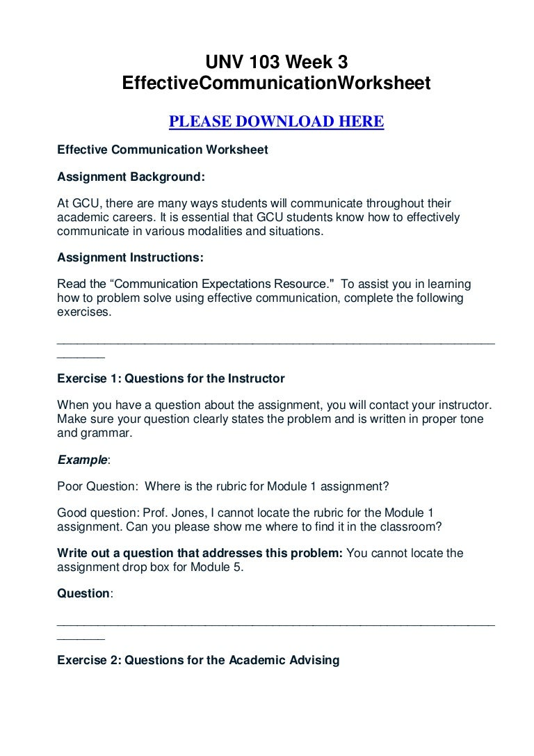 Unv 103 Week 3 Effective Communication Worksheet