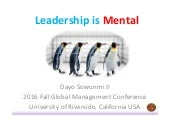 Global Leadership Conference - California Leadership Is Mental - Dayo Sowunmi II