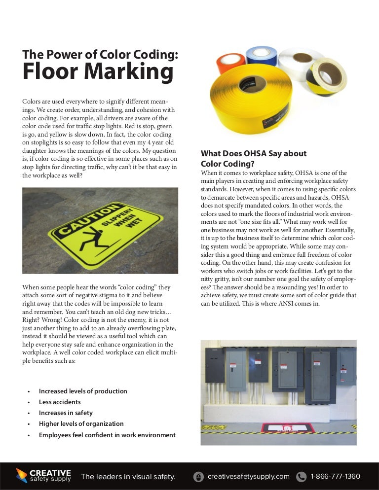 The power of color coding for floor marking osha standards - The power of color ...