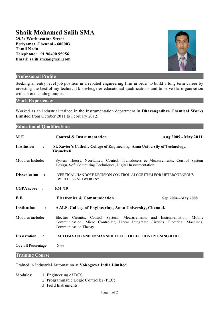 Instrumentation Design Engineer Resume Format