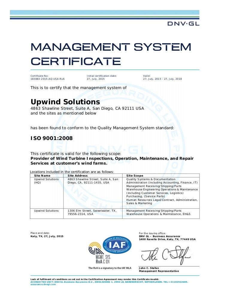 dnv iso gl certification