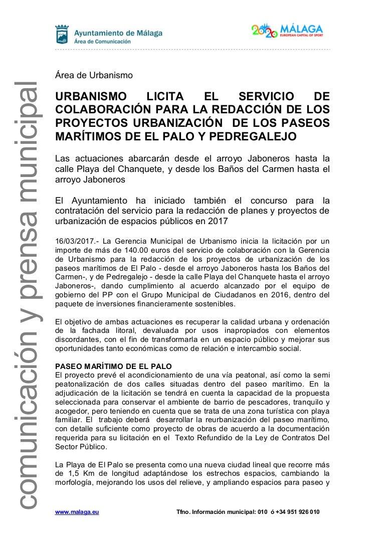 URBANISMO LICITA EL SERVICIO DE COLABORACIÓN PARA LA REDACCIÓN DE LOS…