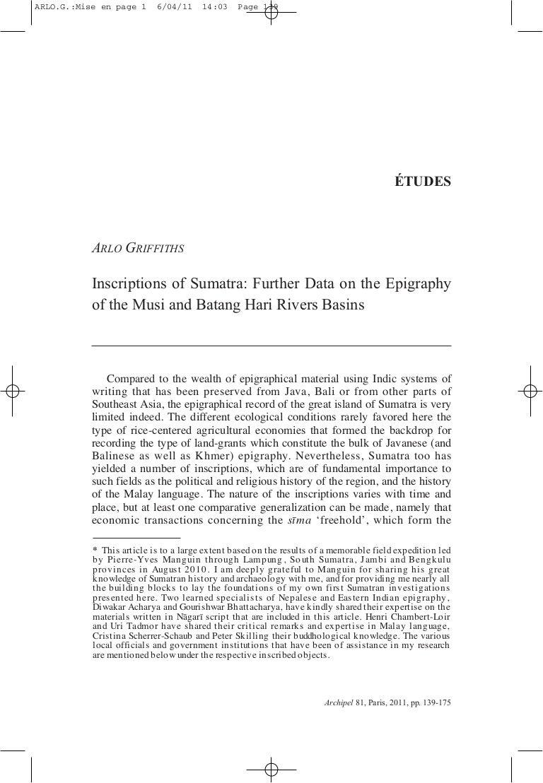 Griffiths 2011 inscriptions of sumatra musi and batang hari