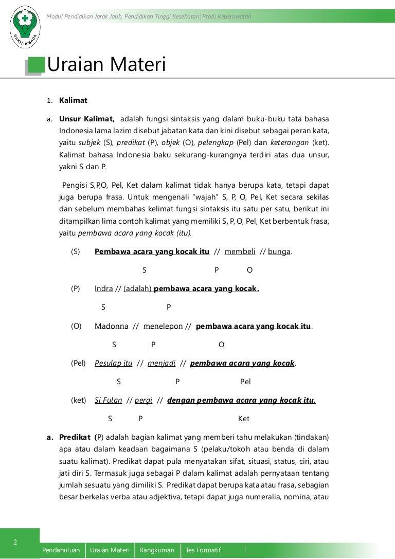 Tata Kalimat Bahasa Indonesia Yang Efektif