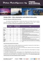 Urban Intelligence 8- October 2012- Cities Urbanisation and National Urban Policy