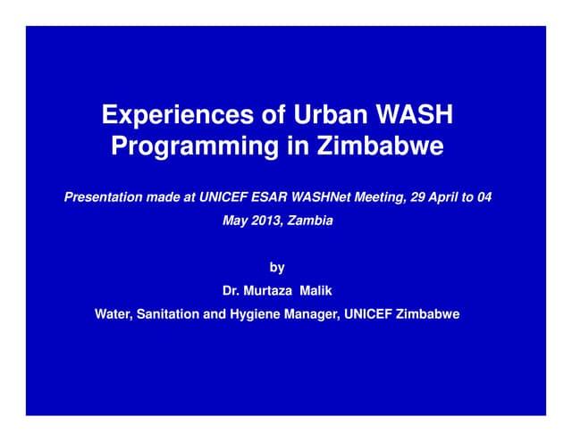 Experiences of Urban Water, Sanitation and Hygiene (WASH)Programming in Zimbabwe