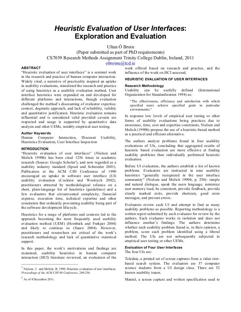 Heuristic Evaluation Of User Interfaces: Exploration And Evaluation …