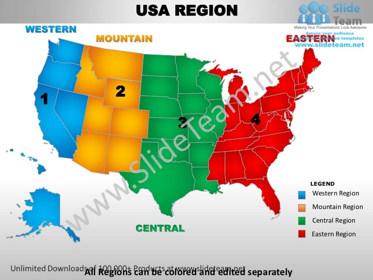 Usa Eastern Region Country Editable Powerpoint Maps With States And C - Usa map 4 regions