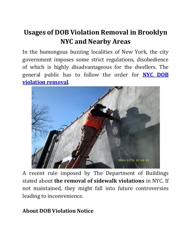 Usages of DOB Violation Removal in Brooklyn NYC