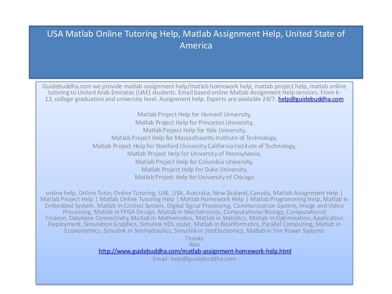 usa matlab assignment help matlab homework help expert tutor home