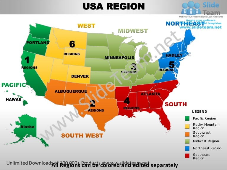 Usa northeast region country editable powerpoint maps with states and