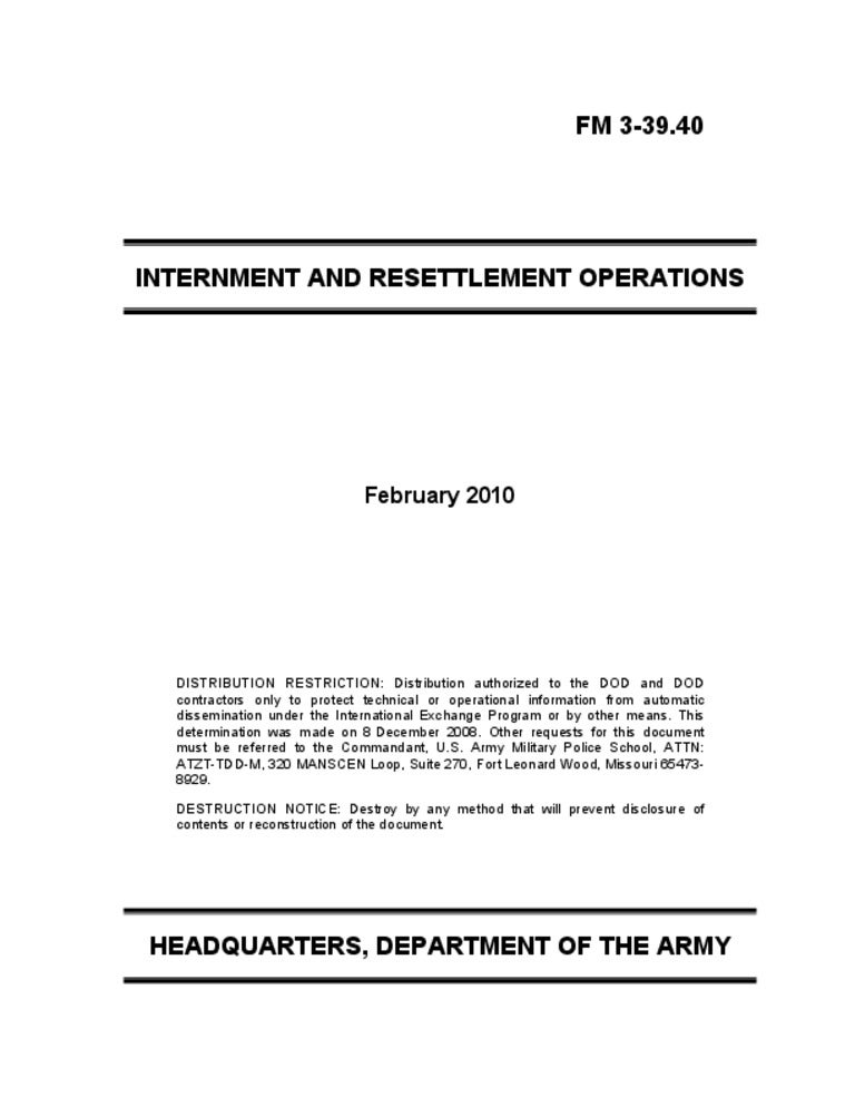 us army internment and resettlement operations manual rh slideshare net U.S. Army Field Manual 21 20 Army Technical Manuals