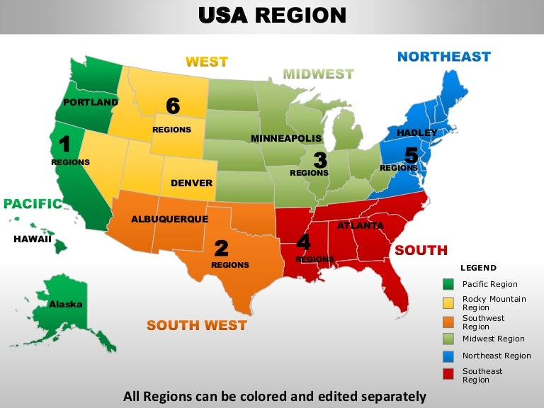 Usa South Region Country Editable Powerpoint Maps With States And Cou - Usa map with regions and states