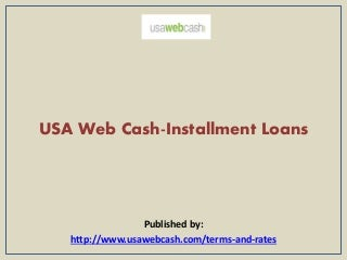 Usa web cash installment loans
