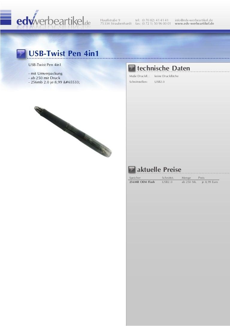 Usb Kugelschreiber Twist 4in1