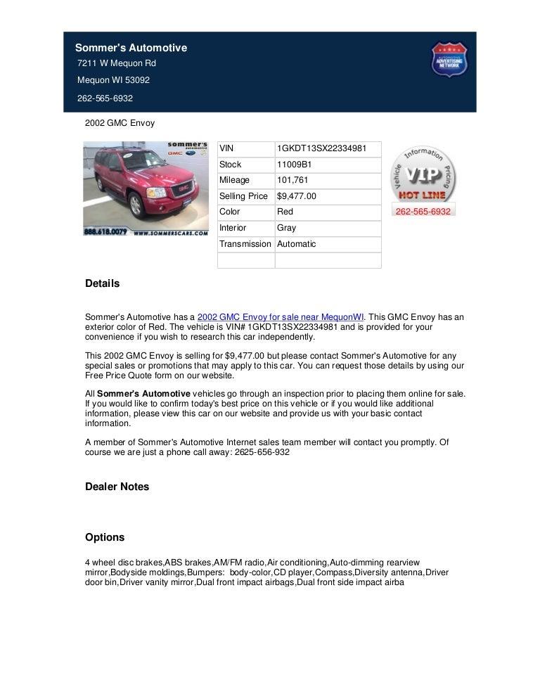 Used 2002 Gmc Envoy For Sale Near Milwaukee Wi Stock 23 11009b1