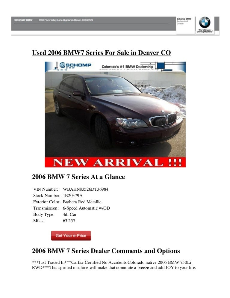 Used 2006 Bmw 7 Series For Sale In Denver Co