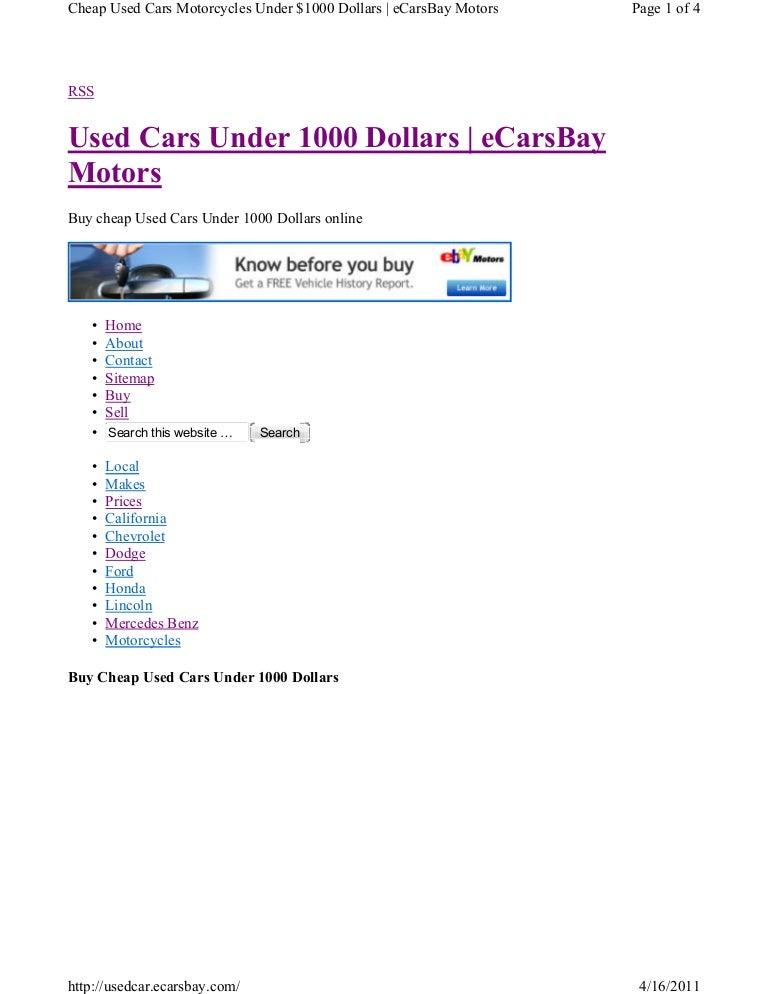 Buy Used Cars Under 1000 Dollars
