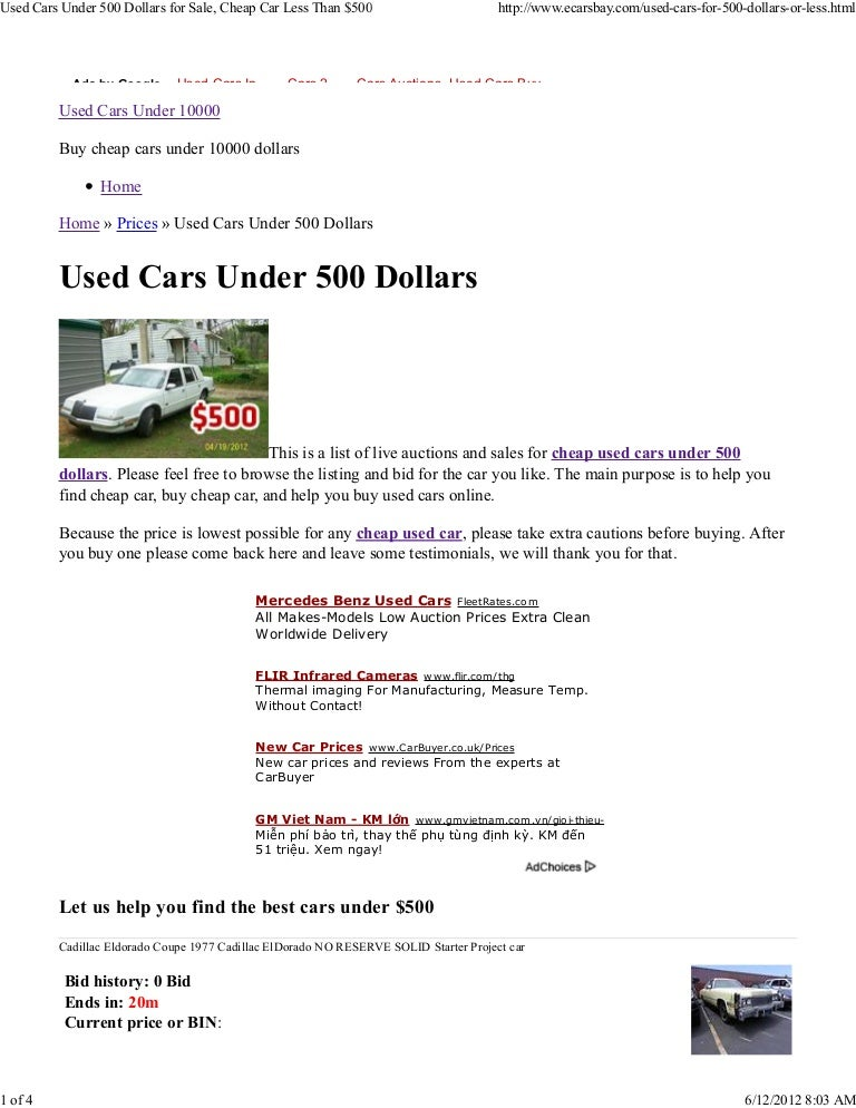 Used Cars Under 500 Dollars For Sale Cheap Car Less Than 500