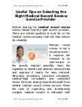 Useful Tips on Selecting the Right Medical Record Review Service Provider