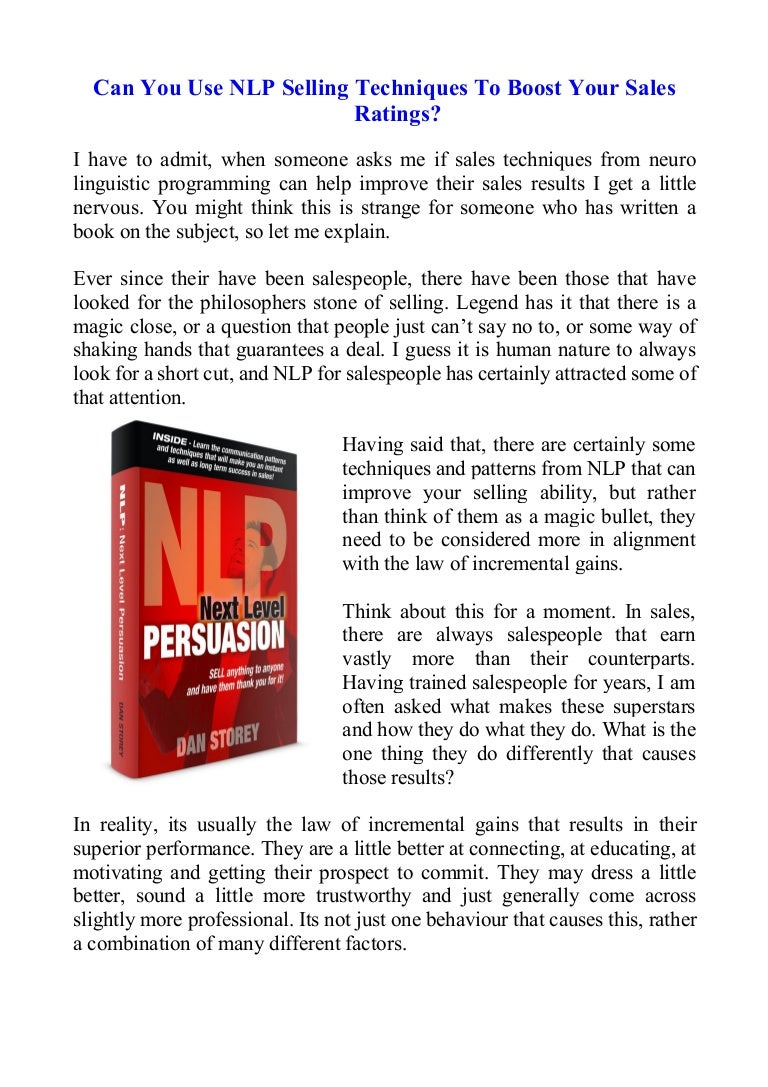 Can You Use NLP Selling Techniques To Boost Your Sales ...