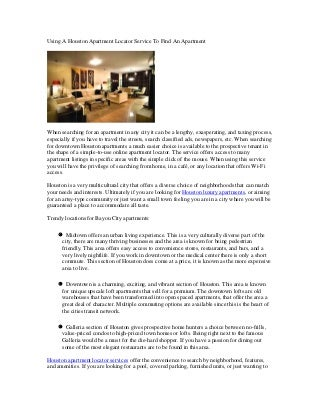 Using A Houston Apartment Locator Service To Find An Apartment