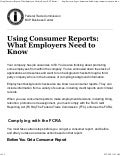 Using consumer reports:  What employers need to know