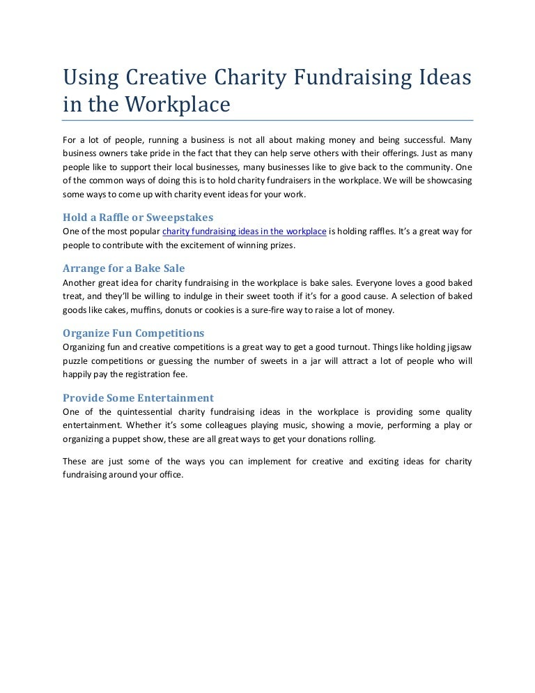 Using Creative Charity Fundraising Ideas In The Workplace