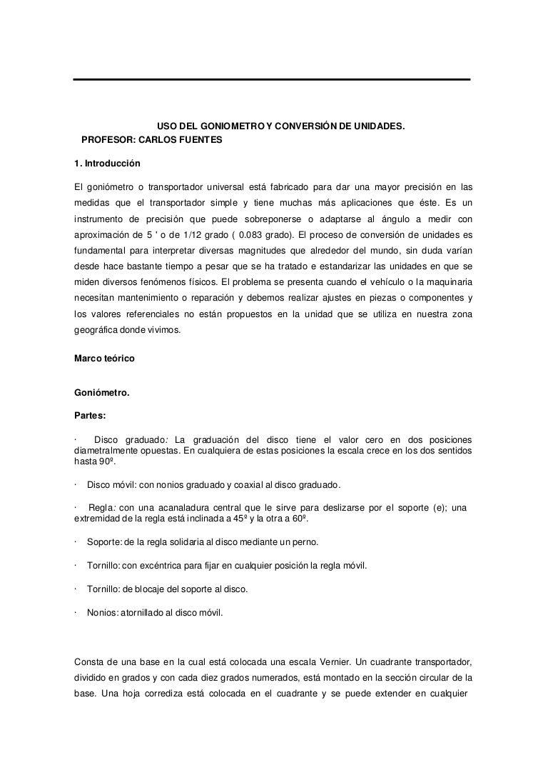 Uso goniometro y conversion de unidades