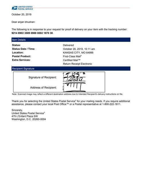 4506t USPS electronic-return-receipt 21st october